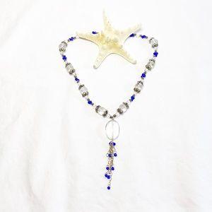 Bali Silver and Quartz Crystal Drop Necklace